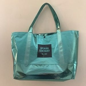 Opening Ceremony Bags - Opening Ceremony Large Teal Metallic Shopper Tote